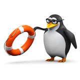 3d Academic penguin throws a life saver Stock Photography