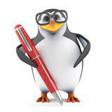 3d Academic penguin writing with a pen Royalty Free Stock Images