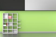 3d accantona con i libri sul fondo verde dipinto della parete Fotografie Stock Libere da Diritti
