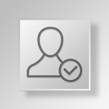 3D accept user icon Business Concept. 3D Symbol Gray Square accept user icon Business Concept Stock Photos