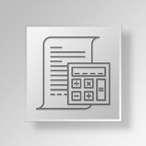 3D accounting icon Business Concept. 3D Symbol Gray Square accounting icon Business Concept Stock Photos