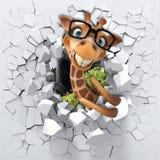 3d achtergrond, Giraf door een gebroken muur wordt bekeken die stock illustratie
