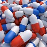 3d achtergrond van pillen Stock Foto's