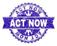 D'ACTE joint texturisé grunge de timbre MAINTENANT avec le ruban illustration de vecteur