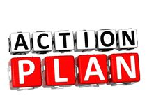3D Action Plan Button Click Here Block Text. Over white background Stock Images