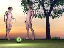 3D Adam en Vooravond - geef terug stock illustratie