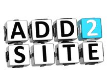 3D Add to Site Cube text Royalty Free Stock Photography