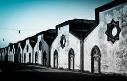 d'Adda van Crespi, Italië. In een rij Royalty-vrije Stock Foto's