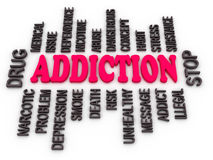 3d Addiction message. Substance or drug dependence conceptual design Royalty Free Stock Photos