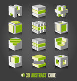 3d adstract cube. Vector set Stock Photos