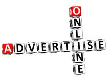 3D Advertise Online Crossword. On white background Stock Photos