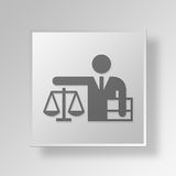 3D advogado Button Icon Concept Fotos de Stock Royalty Free