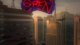 3d aerial city. Open sign Stock Photos