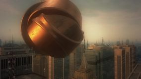 3d aerial city. UFO concept. 3d cinematic aerial city and Ufo concept stock footage