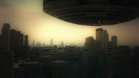 3d aerial city and UFO. 3d aerial city futuristic concept stock video footage