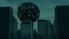 3d aerial city and UFO. 3d aerial city futuristic concept stock footage