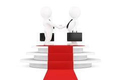 3d affärsman Characters Shaking Hands över runda vita Pedesta Fotografering för Bildbyråer