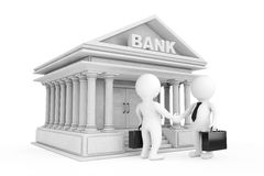 3d affärsman Characters Shaking Hands nära bankbyggnad 3D r Arkivbilder