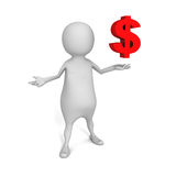 3d affaires blanches Person With Dollar Currency Symbol Image stock