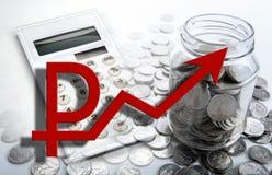 D'affaires de finances toujours la vie et le rouble russe croissant photos stock