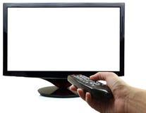 3D affichage du blanc TV Photographie stock