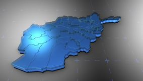 3D Afghanistan - Translucent. 3D animation map for infographic vector illustration