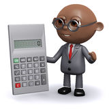 3d African American businessman does the sums. 3d render of an African American businessman with a calculator Stock Image