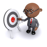 3d African American businessman hits his target. 3d render of an African American businessman next to a target Royalty Free Stock Photos