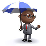 3d African American businessman under an umbrella. 3d render of an African American businessman under an umbrella Royalty Free Stock Images