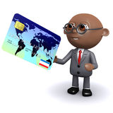 3d African American businessman uses a card. 3d render of an African American businessman spending with a debit card Royalty Free Stock Photo