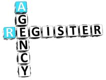 3D Agency Register Crossword. On white background Royalty Free Stock Photography