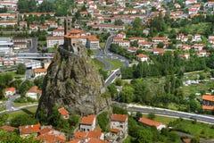 d'Aiguilhe del Saint Michel, Le Puy-en-Velay, Francia Fotografia Stock Libera da Diritti