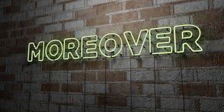 D'AILLEURS - Enseigne au néon rougeoyant sur le mur de maçonnerie - 3D a rendu l'illustration courante gratuite de redevance illustration de vecteur