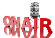 3d On air word with a microphone. Stock Image