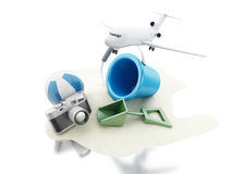 3d Airplane, camera and beach toys. Travel concept. Royalty Free Stock Photography