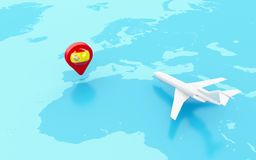 3D Airplane flying and map pointer with Spain flag. 3D Illustration. Airplane flying around globe and map pointer with flag icon of Spain. Travel concept Stock Photo
