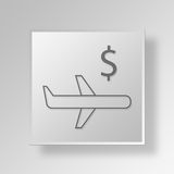 3D Airplane icon Business Concept Stock Images
