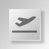 3D Airplane icon Business Concept Royalty Free Stock Photo