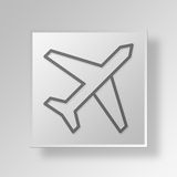 3D Airplane icon Business Concept Stock Photos