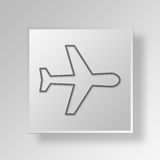 3D Airplane icon Business Concept Royalty Free Stock Photos