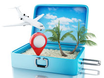 3d Airplane and map pointer in a travel suitcase. 3d renderer image. Airplane and map pointer in a travel suitcase. Beach vacation concept.  white background Royalty Free Stock Image