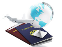 3d airplane, passport and earth globe. 3d renderer illustration. Airplane, passport and earth globe. Airline travel concept.  white background Stock Images