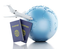 3d airplane, passport and earth globe. 3d renderer illustration. Airplane, passport and earth globe. Airline travel concept.  white background Royalty Free Stock Photography