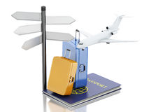 3d airplane, passport and travel suitcases. 3d renderer illustration. Airplane, passport and travel suitcases. Airline travel concept.  white background Royalty Free Stock Photos