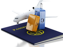 3d airplane, passport and travel suitcases. 3d renderer illustration. Airplane, passport and travel suitcases. Airline travel concept.  white background Royalty Free Stock Photography