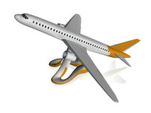 3d airplane. Airplane silhouette isolated on white background Stock Photo