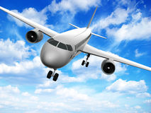 3d airplane. Airplane silhouette isolated on white background Royalty Free Stock Photography