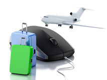 3d Airplane, suitcase and computer mouse. Travel concept. 3d illustration. Airplane, travel suitcase and computer mouse. Online booking flight or travel concept Stock Image