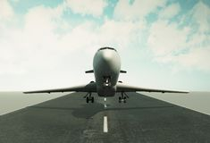 3d Airplane taking off runway. 3d illustration. Airplane taking off runway. Travel concept Stock Image
