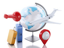 3d airplane and world globe. Travel concept. 3d renderer image. Airplane and world globe with pushpin. Travel vacation concept.  white background Royalty Free Stock Image